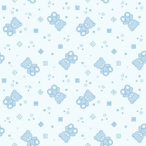 Papel de Parede Adesivo Baby Ursinho Azul