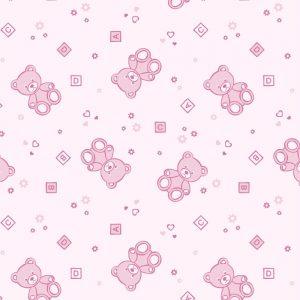 Papel de Parede Adesivo Baby Ursinho Rosa