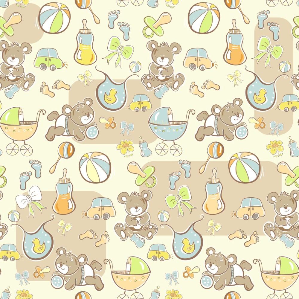 Adesivo De Parede Ursinho Curioso ~ Papel de Parede Adesivo Baby Ursinho com Brinquedos StickDecor