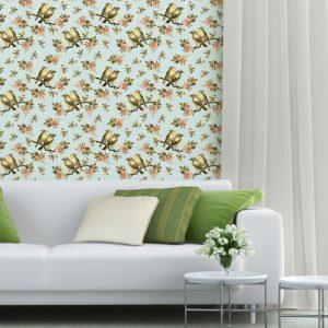 Papel de Parede Adesivo Floral Passarinhos Galho