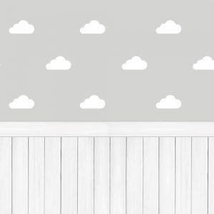 Papel de Parede Adesivo Nuvens com Madeira