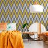 Papel de Parede Adesivo Geométrico Amarelo e Cinza