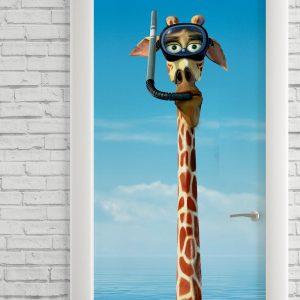 Adesivo de Porta Desenho Girafa Madagascar