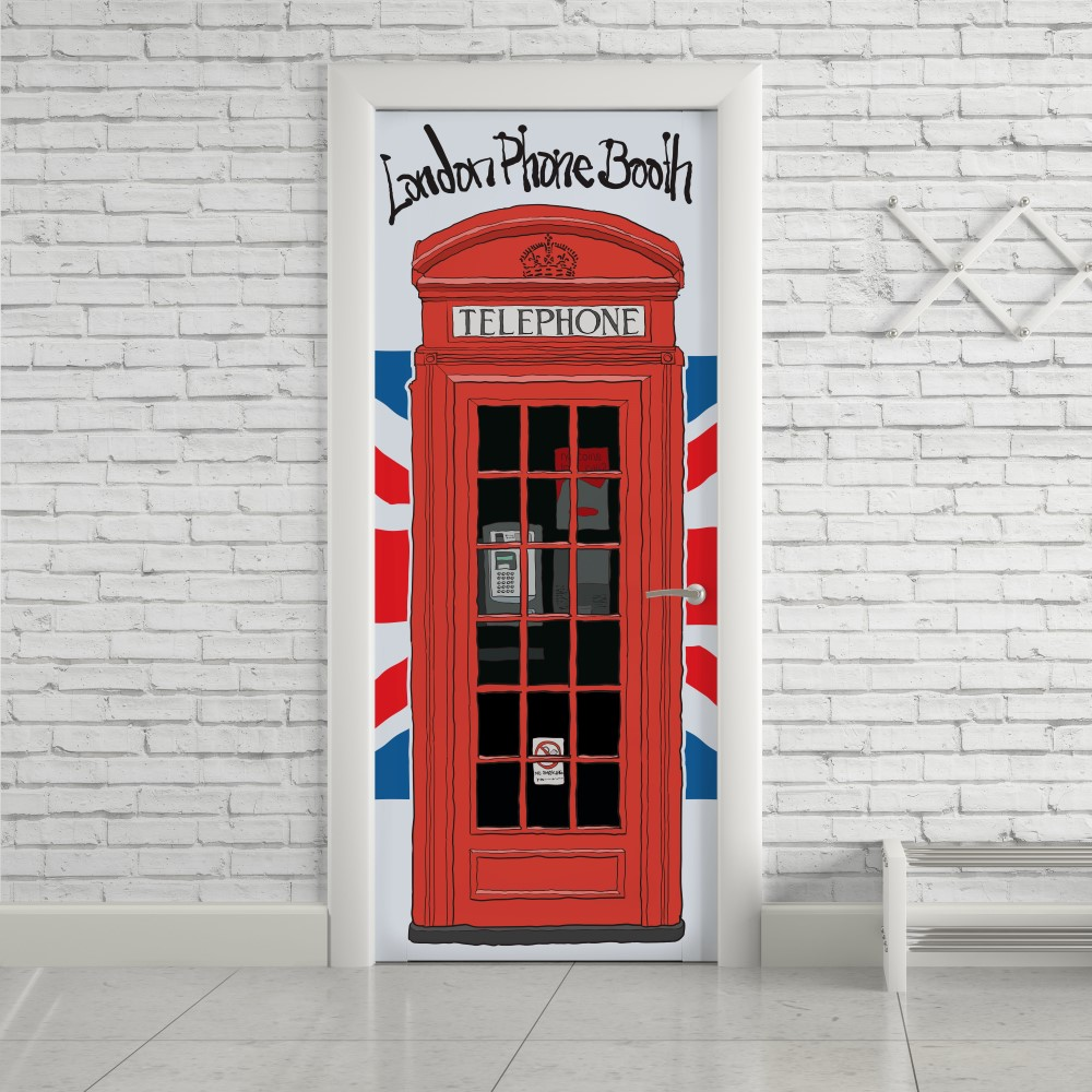 Adesivo de Porta London Telephone Desenho