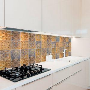 Papel de Parede Adesivo Azulejo Vintage Gold