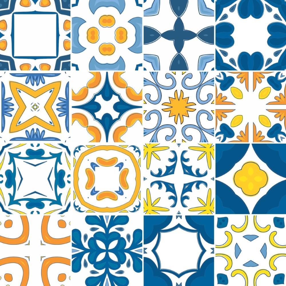 Descreva Artesanato Manufatura E Maquinofatura ~ KIT de Adesivo Azulejo Azul e Amarelo StickDecor