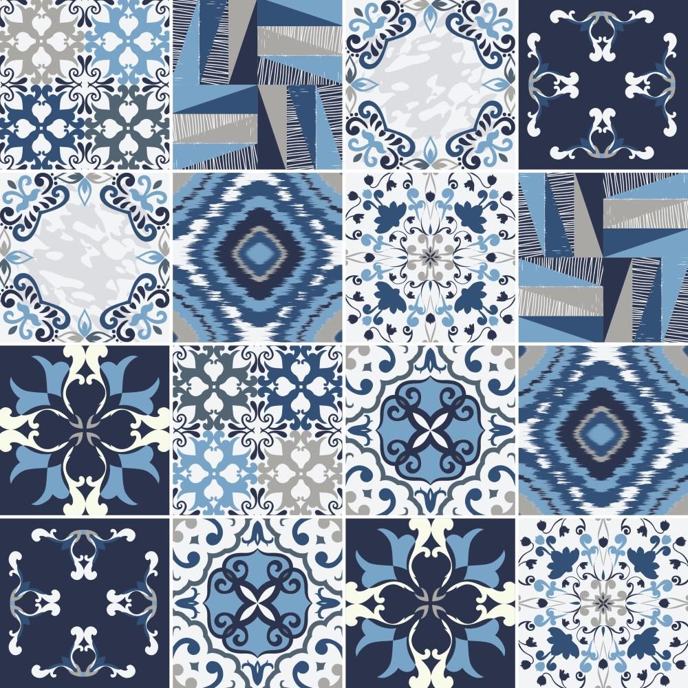 Armario Jose ~ KIT de Adesivo Azulejo Azul Cinza e Branco StickDecor