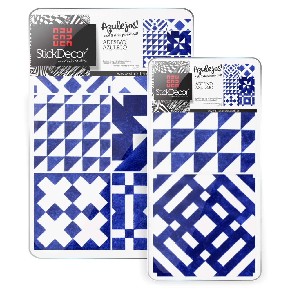 Descreva Artesanato Manufatura E Maquinofatura ~ KIT de Adesivo Azulejo Geométrico Azul StickDecor