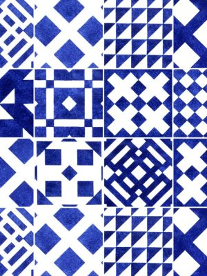 KIT de Adesivo Azulejo Geométrico Azul