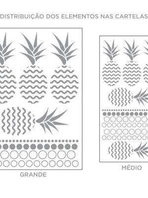 Kit de Adesivos de Parede Abacaxi com Bolinhas