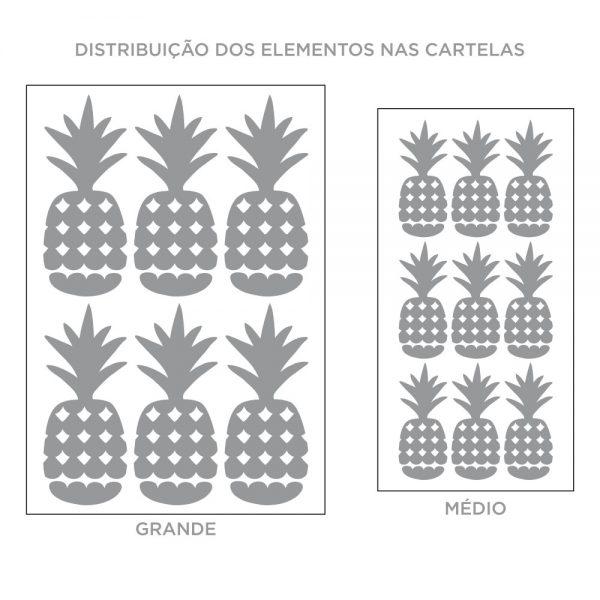 Kit de Adesivos de Parede Abacaxi Estilizada