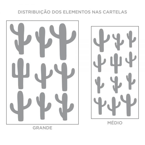 Kit de Adesivos de Parede Cactos