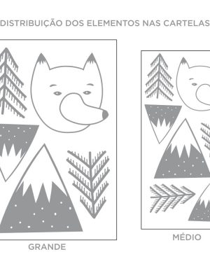 Kit de Adesivos de Parede Floresta do Urso