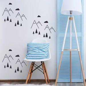 Kit de Adesivos de Parede Montanhas com Arvores