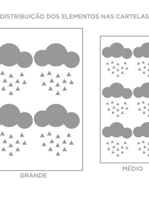 Kit de Adesivos de Parede Nuvens com Triângulos