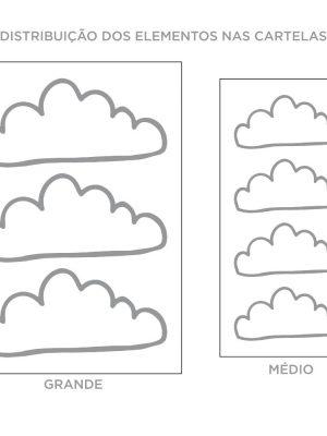 Kit de Adesivos de Parede Nuvens Contorno