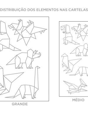 Kit de Adesivos de Parede Origami Dinossauros