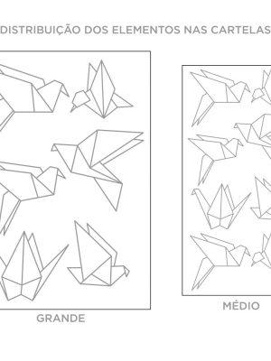 Kit de Adesivos de Parede Origami Passaros