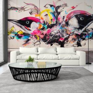 Painel Fotográfico Grafite Pássaros