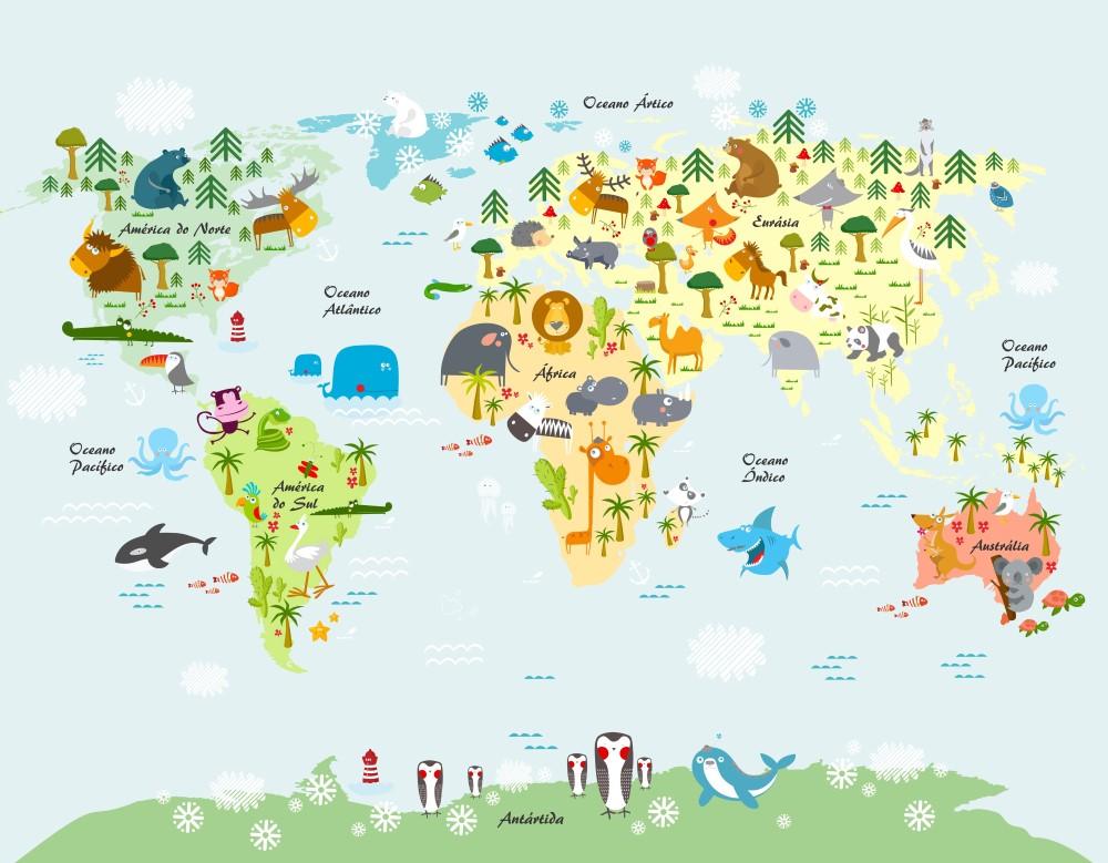 Painel Fotogrfico Infantil Mapa Mundi Animais  StickDecor