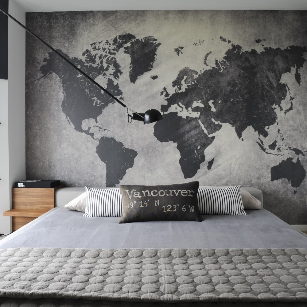 Painel Fotográfico Mapa Mundi Cimento Queimado - StickDecor