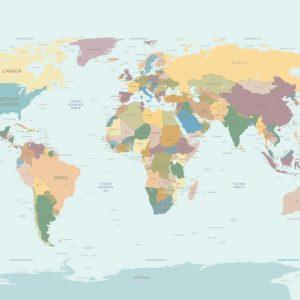 Painel Fotográfico Mapa Mundi em Português
