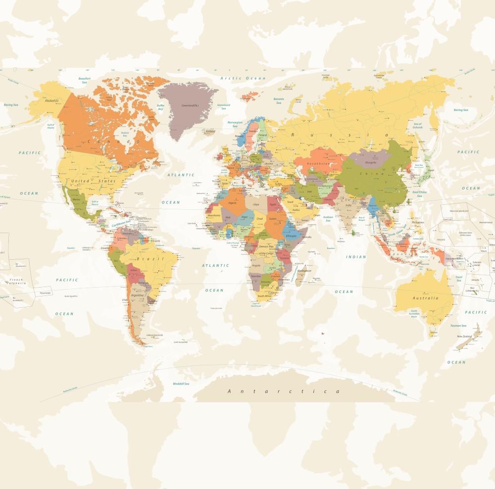 Painel Fotográfico Mapa Mundi Tons Bege - StickDecor