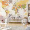 Painel Fotográfico Mapa Mundi Tons Bege