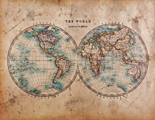 Painel Fotográfico Mapa Mundi Vintage