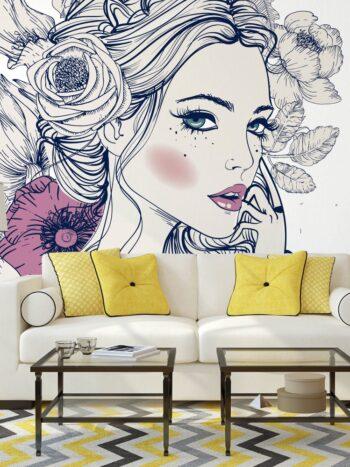 Painel Fotográfico Woman Flowers