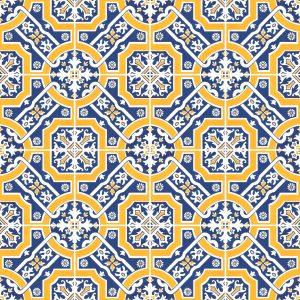 Papel de Parede Adesivo Azulejo Amarelo e Azul