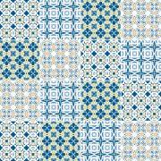 Papel de Parede Adesivo Azulejo Amarelo Azul e Branco