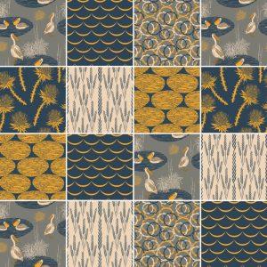 Papel de Parede Adesivo Azulejo Amarelo Cinza e Bege