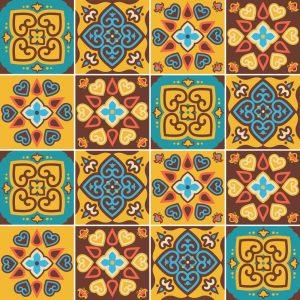 Papel de Parede Adesivo Azulejo Amarelo e Marrom