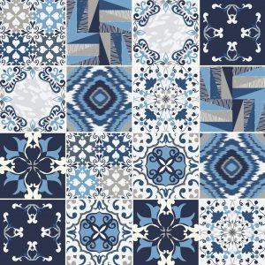 Papel de Parede Adesivo Azulejo Azul Cinza e Branco