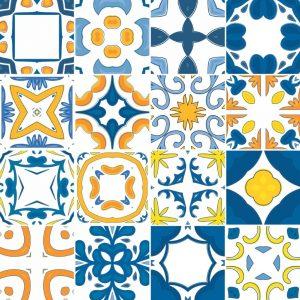 Papel de Parede Adesivo Azulejo Azul e Amarelo