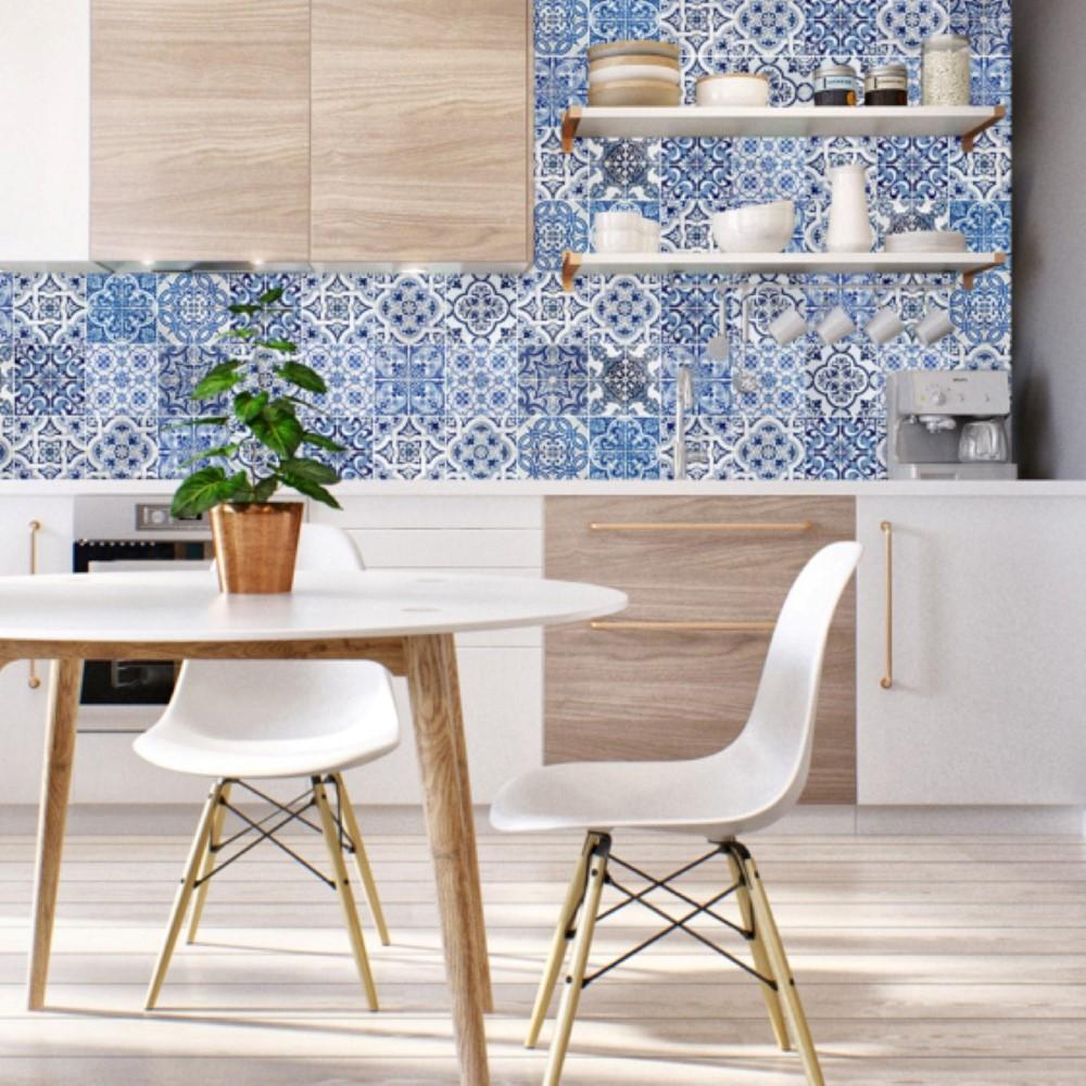 Descreva Artesanato Manufatura E Maquinofatura ~ Papel de Parede Adesivo Azulejo Azul e Branco StickDecor