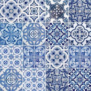 Papel de Parede Adesivo Azulejo Azul e Branco