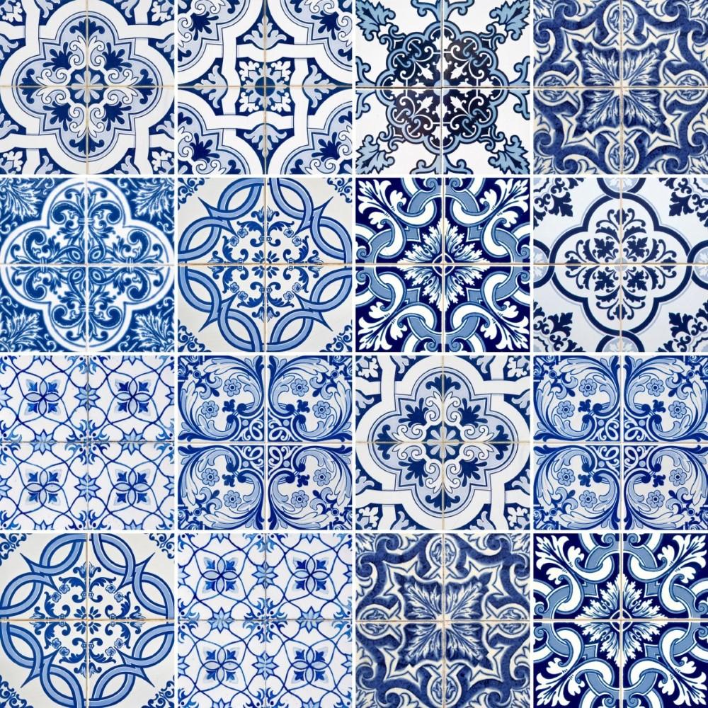 Armario Jose ~ Papel de Parede Adesivo Azulejo Azul e Branco StickDecor