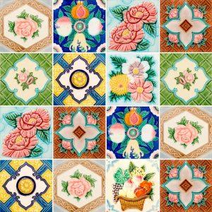 Papel de Parede Adesivo Azulejo Flores