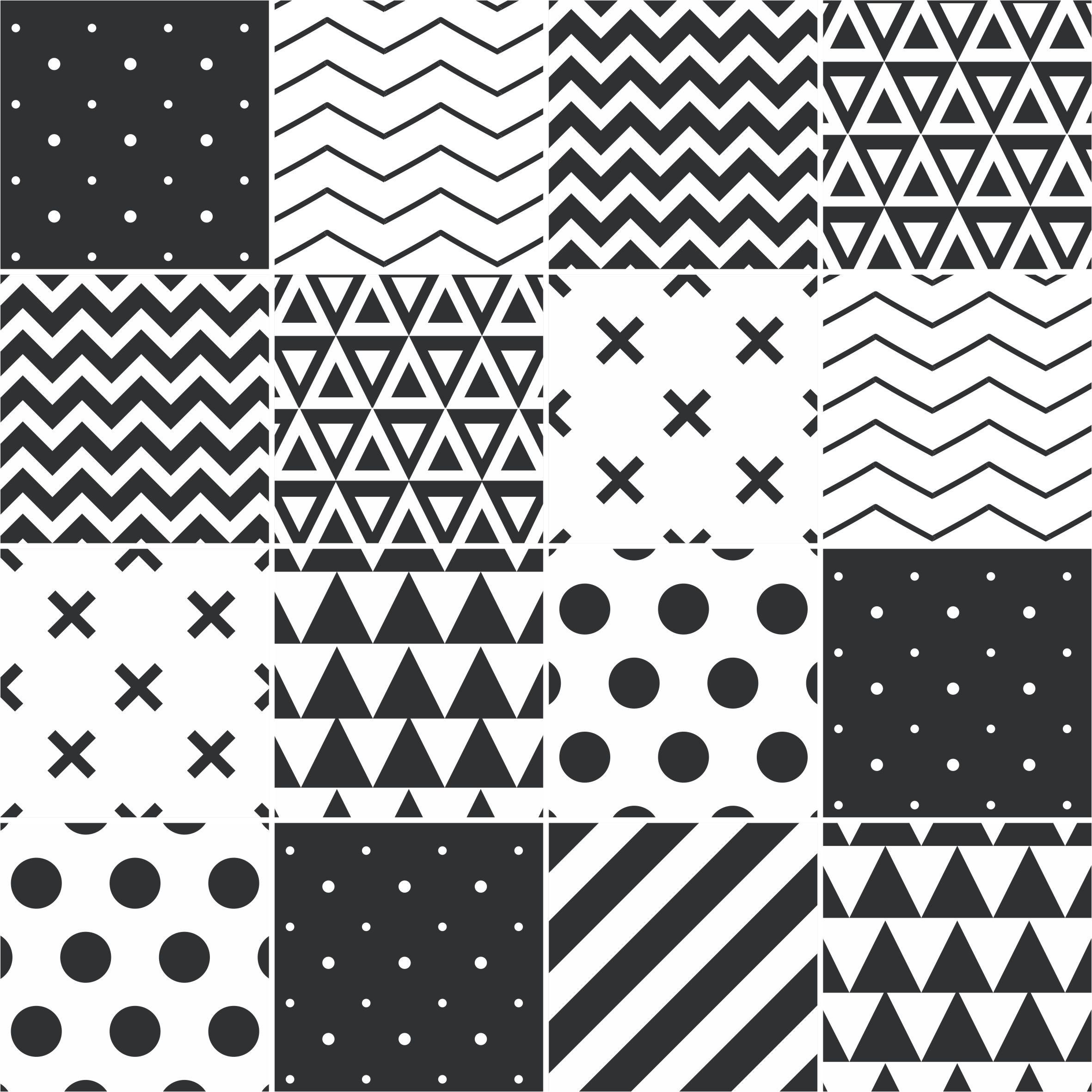 Papel De Parede Adesivo Azulejo Formas Preto E Branco Stickdecor