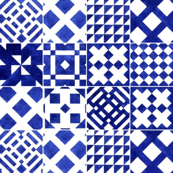 Papel de Parede Adesivo Azulejo Geométrico Azul