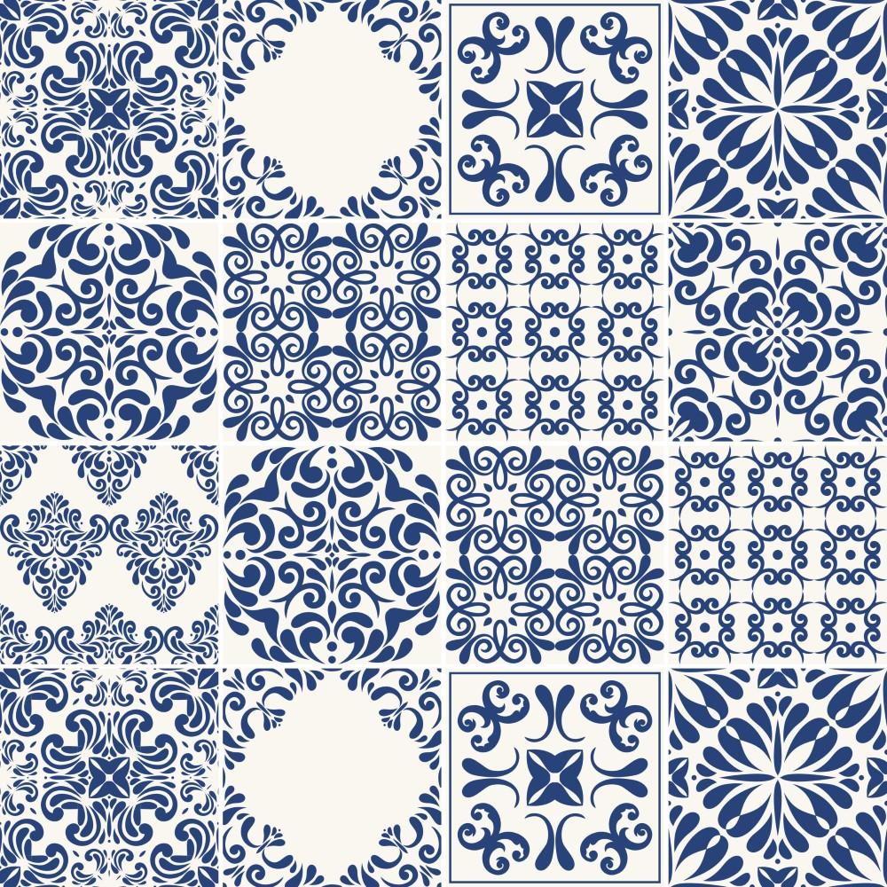 Papel de parede adesivo azulejo portugues 062 stickdecor - Papel para azulejos de bano ...