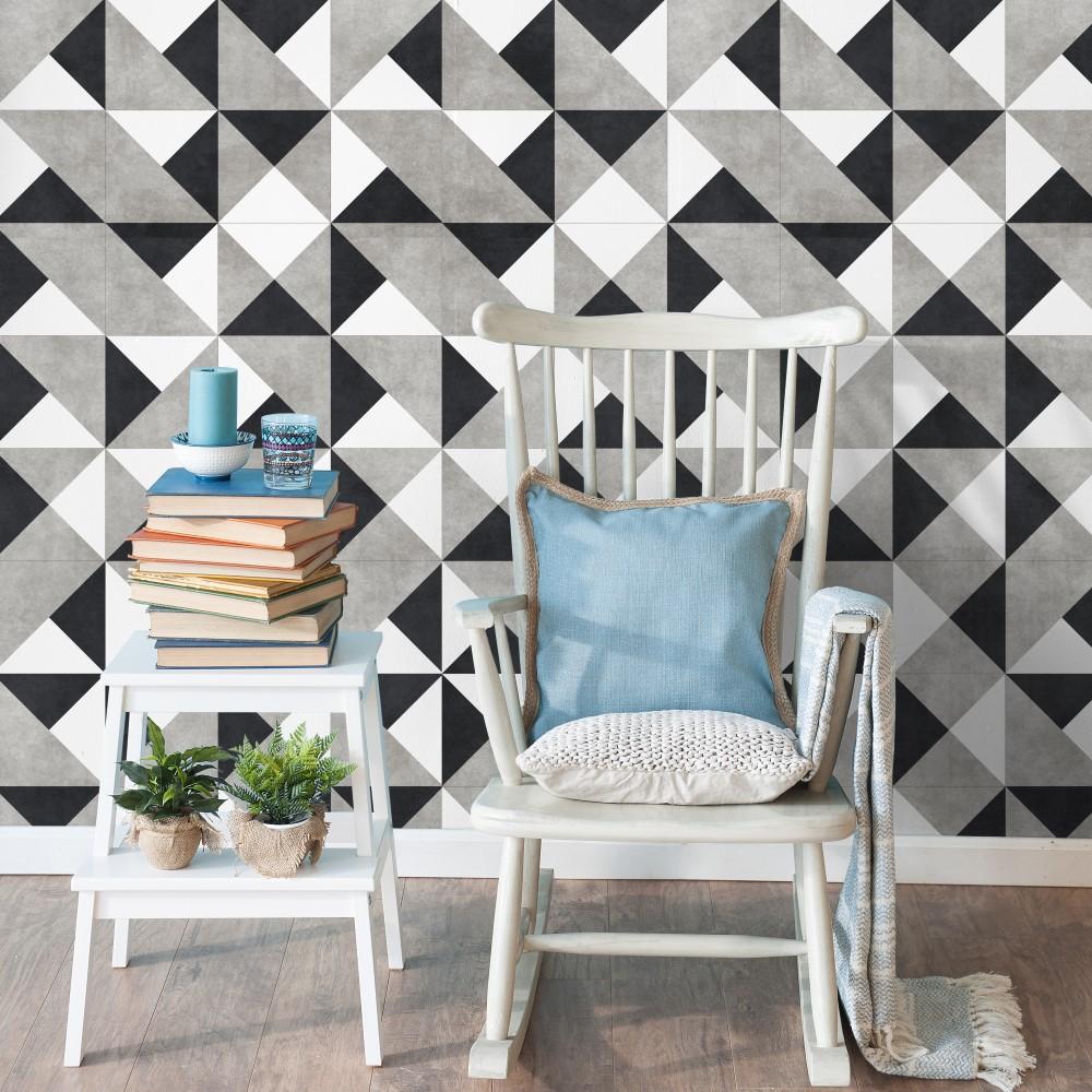 Papel de parede adesivo azulejo preto branco e cinza for Papel adhesivo para azulejos