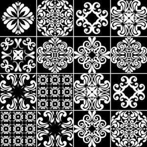 Papel de Parede Adesivo Azulejo Preto e Branco