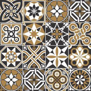 Papel de Parede Adesivo Azulejo Preto Marrom Branco