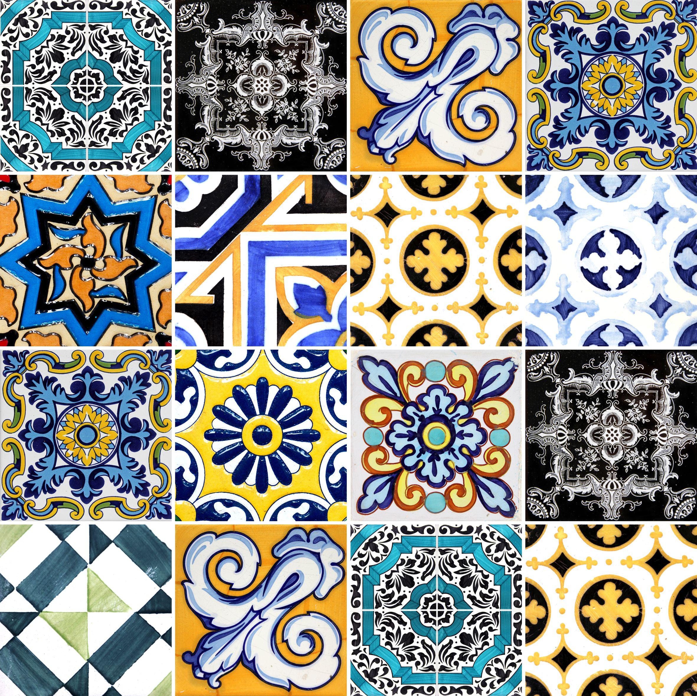 Papel de parede adesivo azulejo vintage antique stickdecor - Azulejos vintage ...