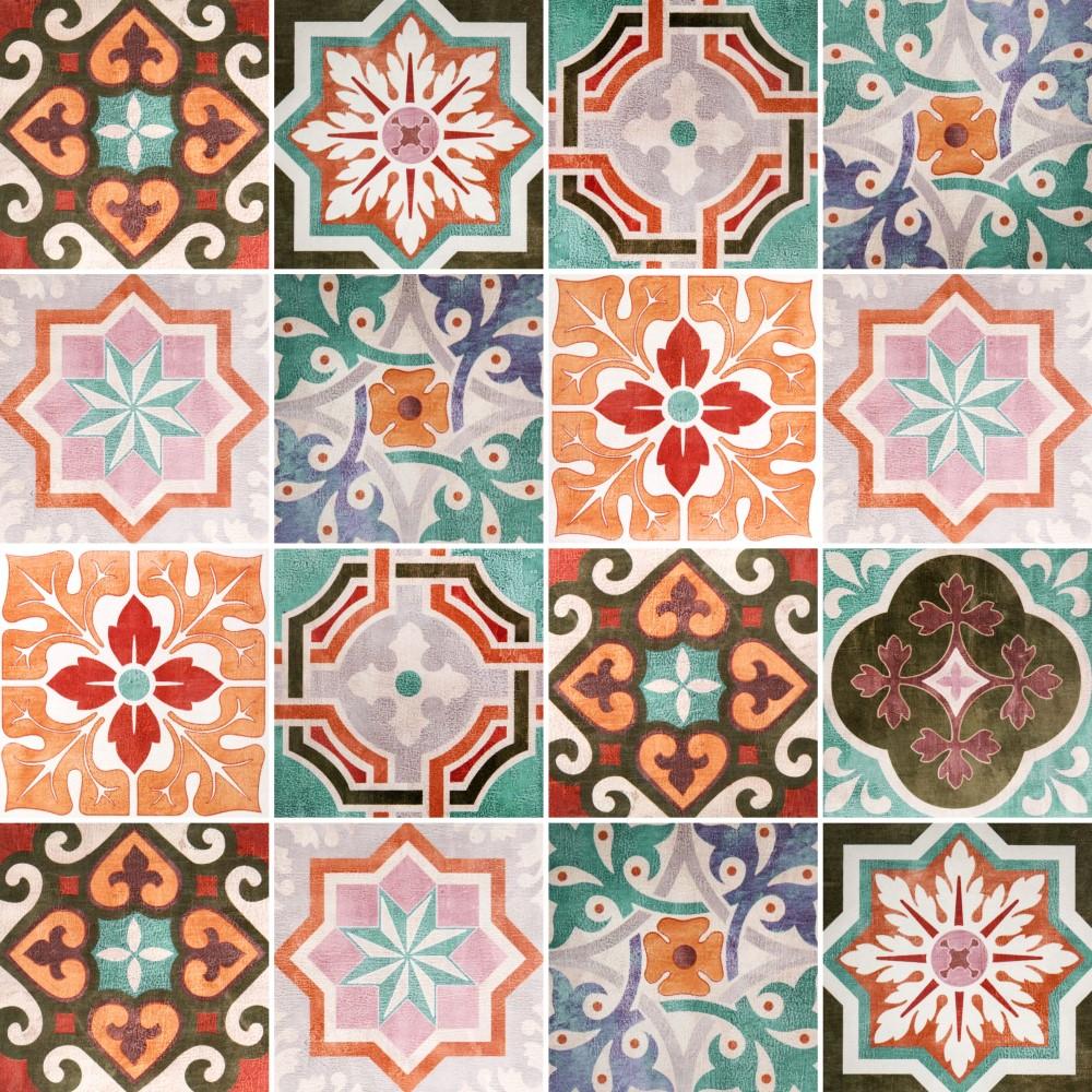 Papel de parede adesivo azulejo vintage stickdecor - Papel para azulejos de bano ...