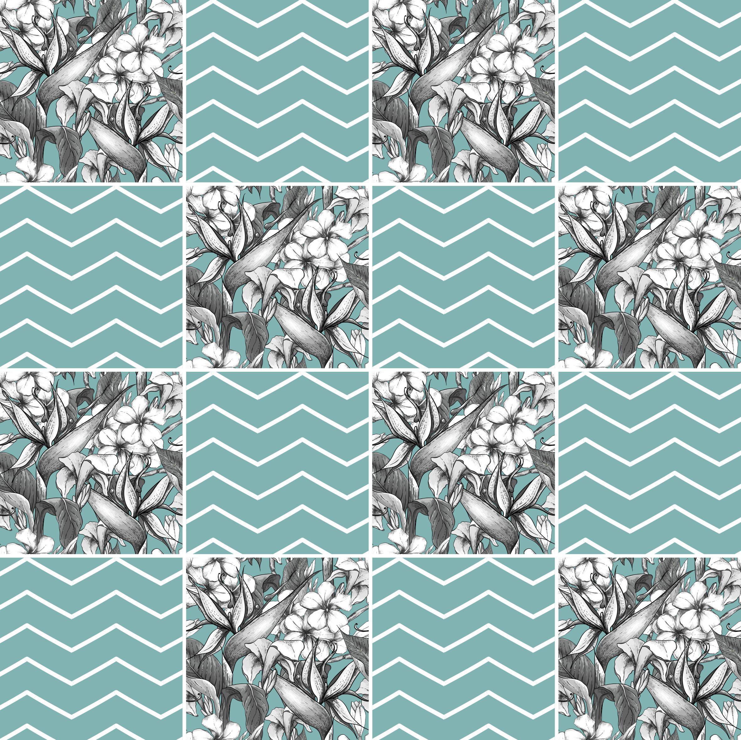 Aparador Adega Bar ~ Papel de Parede Adesivo Azulejo Zig Zag Floral StickDecor