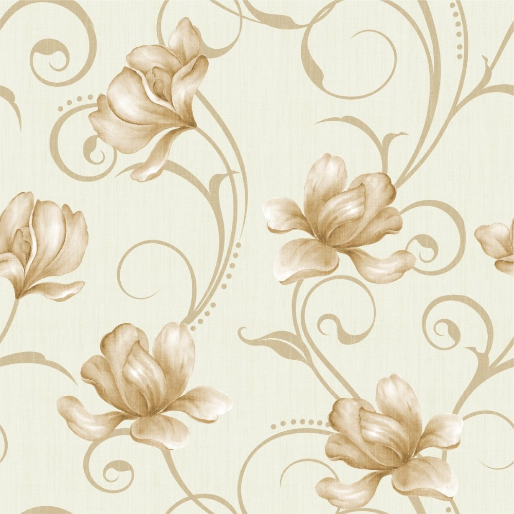 Papel de parede adesivo floral dourado stickdecor for Papel para pared infantil